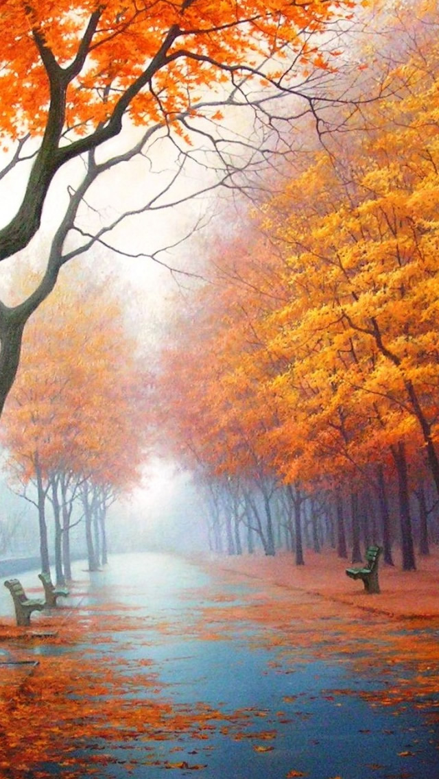 Autumn Road Iphone Wallpapers Free Download
