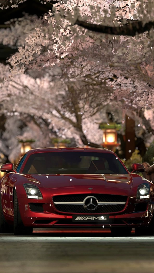 Mercedes Benz Sls Amg Red Night iPhone wallpaper