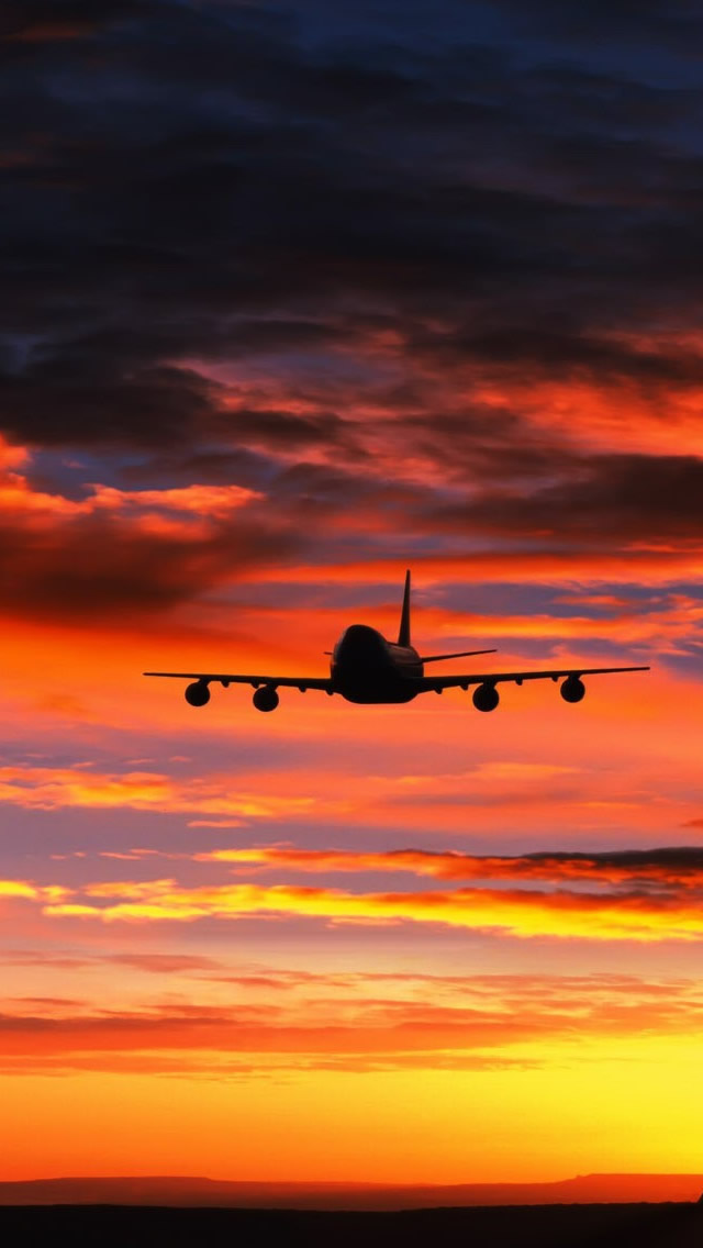 Landing Plane Sunset iPhone wallpaper