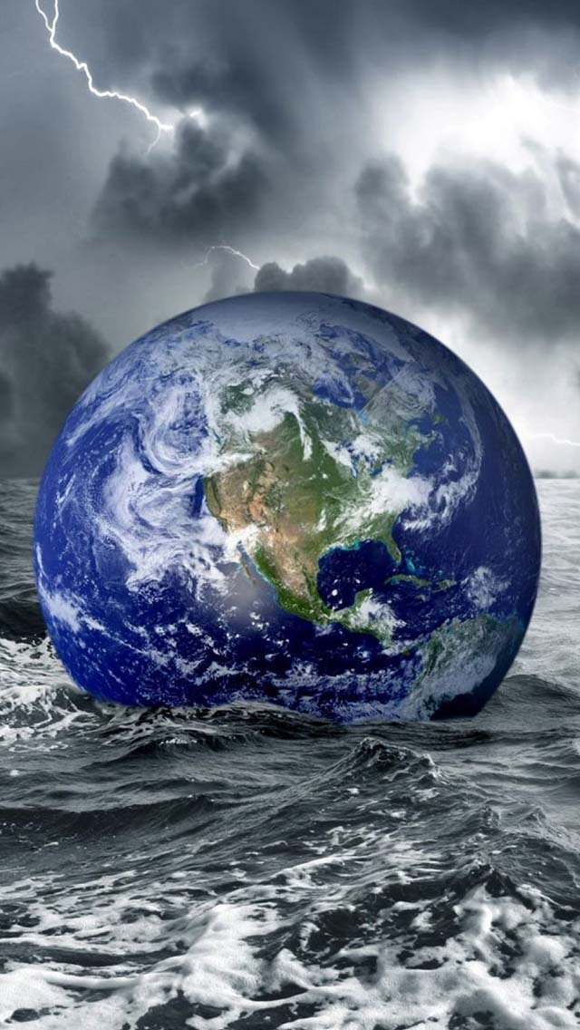 Floating Earth iPhone wallpaper