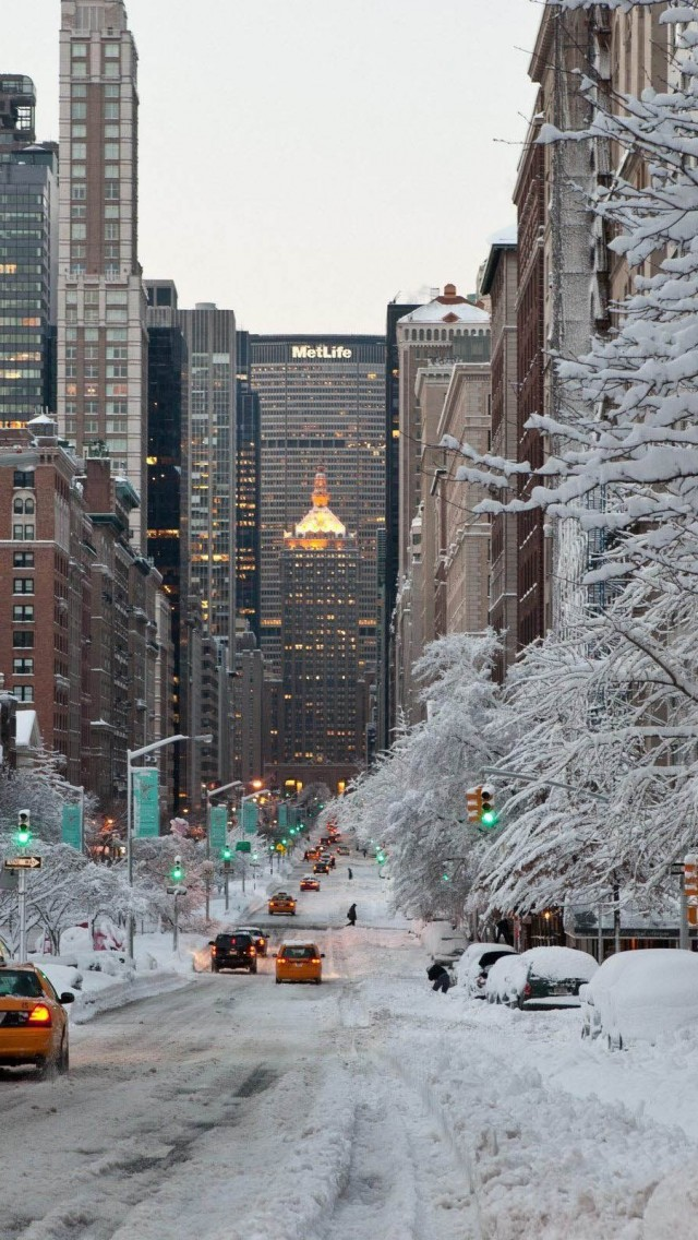 NY Winter Snow USA iPhone wallpaper