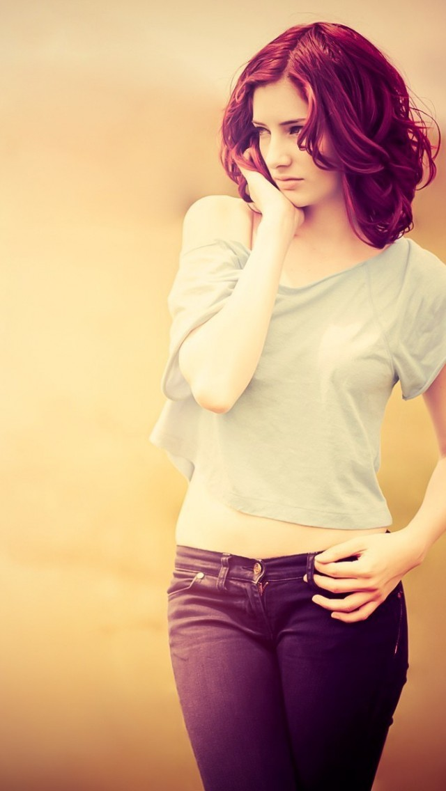Brown hair Jeans Pose Photography iPhone wallpaper