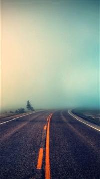 Foggy Road iPhone 5s wallpaper