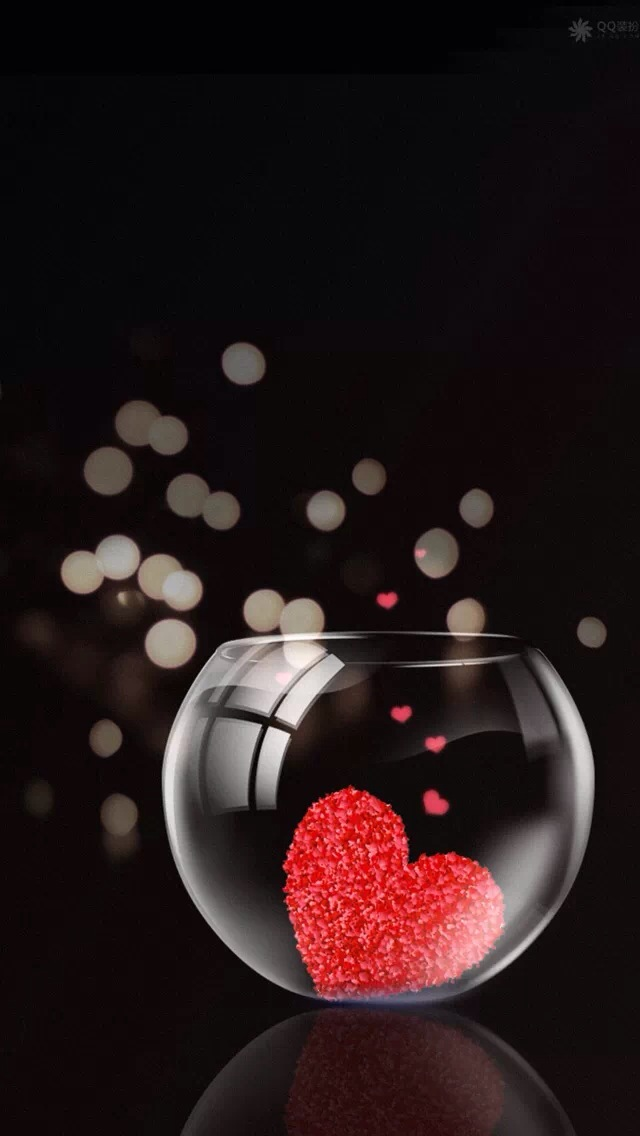 Glass jar of hearts iPhone wallpaper