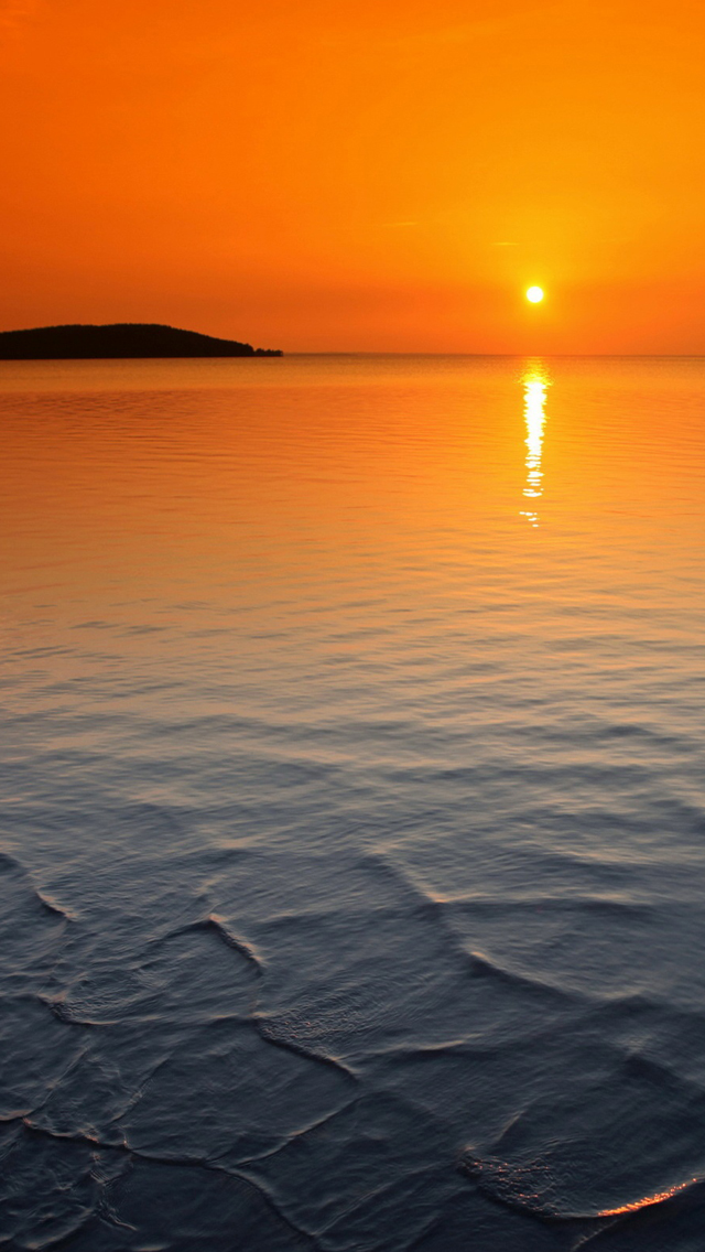 Orange horizon sunset iPhone wallpaper