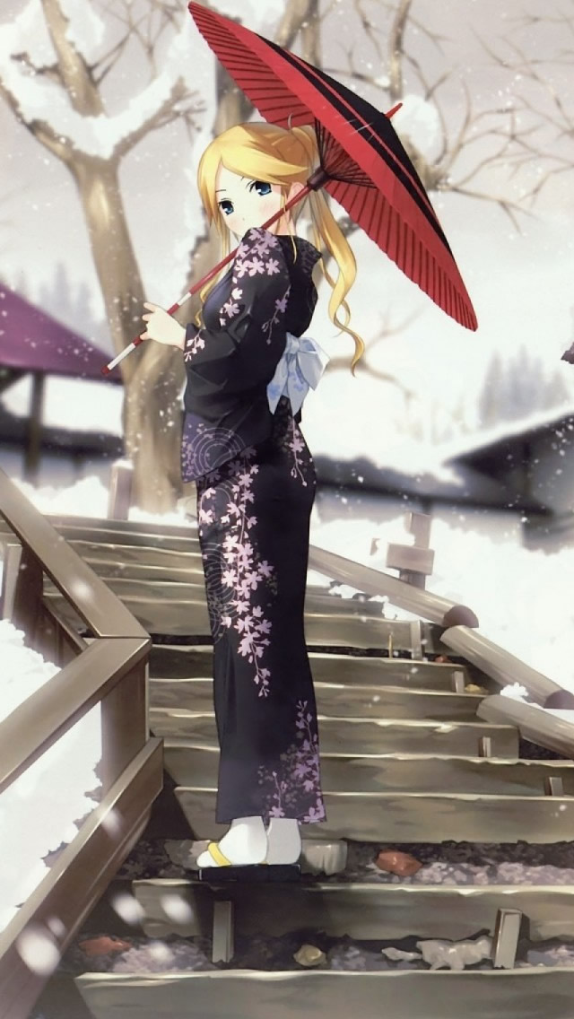 Zetsubou Sensei Winter Anime Umbrellas iPhone wallpaper