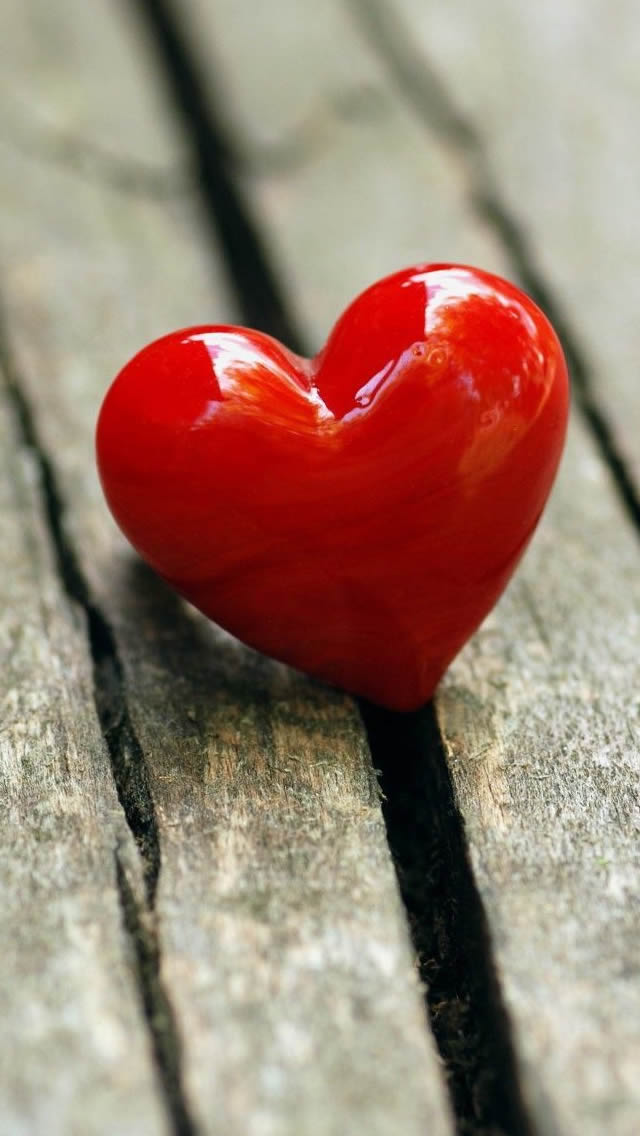 Heart On The Wooden Floor Photography iPhone wallpaper