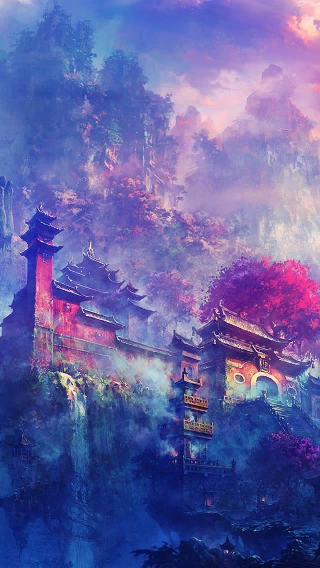 Asian Village In The Mountains Fantasy iPhone wallpaper