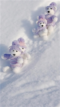 Teddy Bears Winter Break iPhone 5s wallpaper