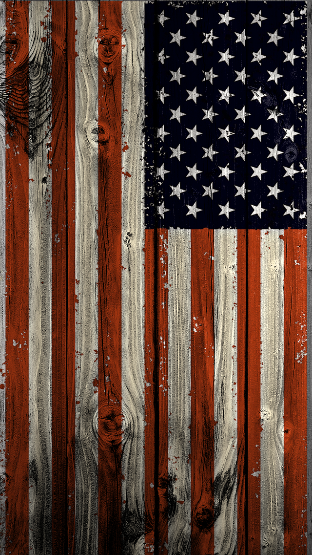 US wooden flag iPhone wallpaper