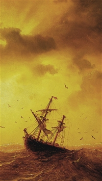 Ship On The Storm Sea iPhone 5s wallpaper