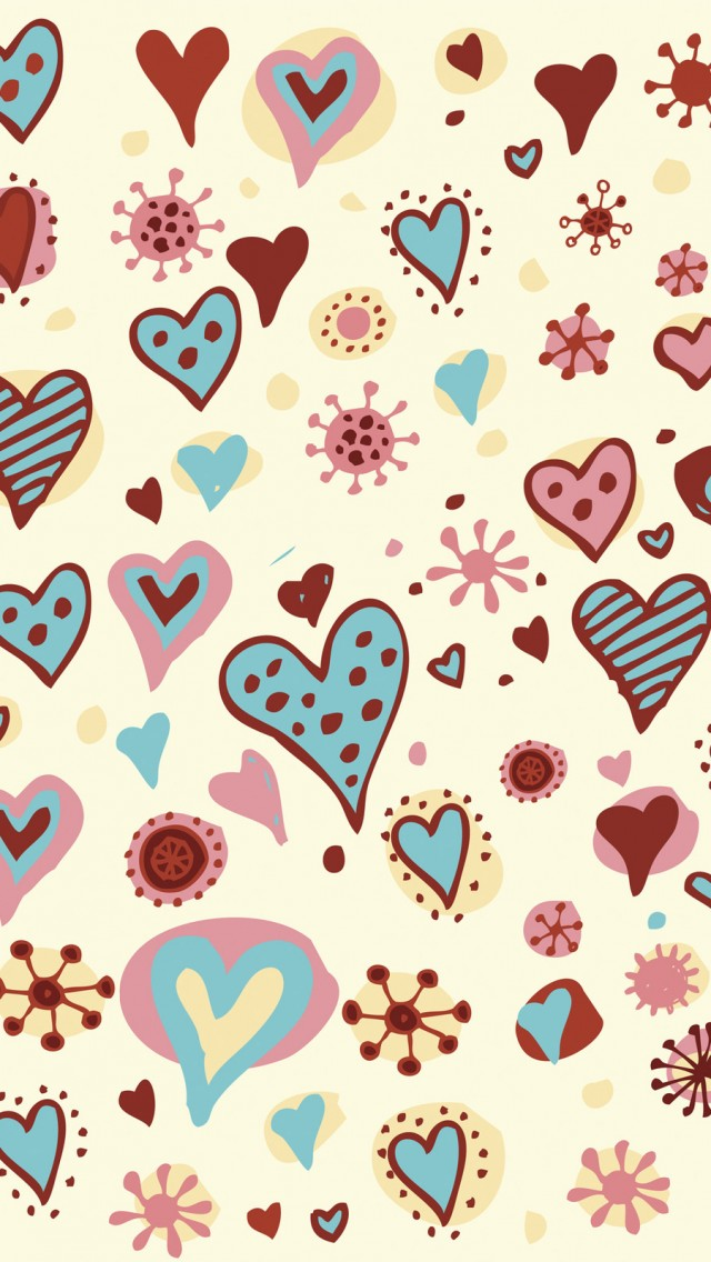 Valentines Day Hearts Textures iPhone wallpaper