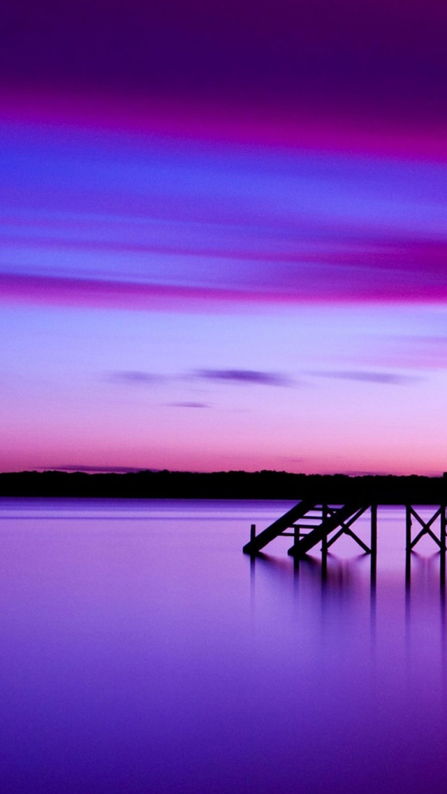 Pier at sunset iPhone wallpaper