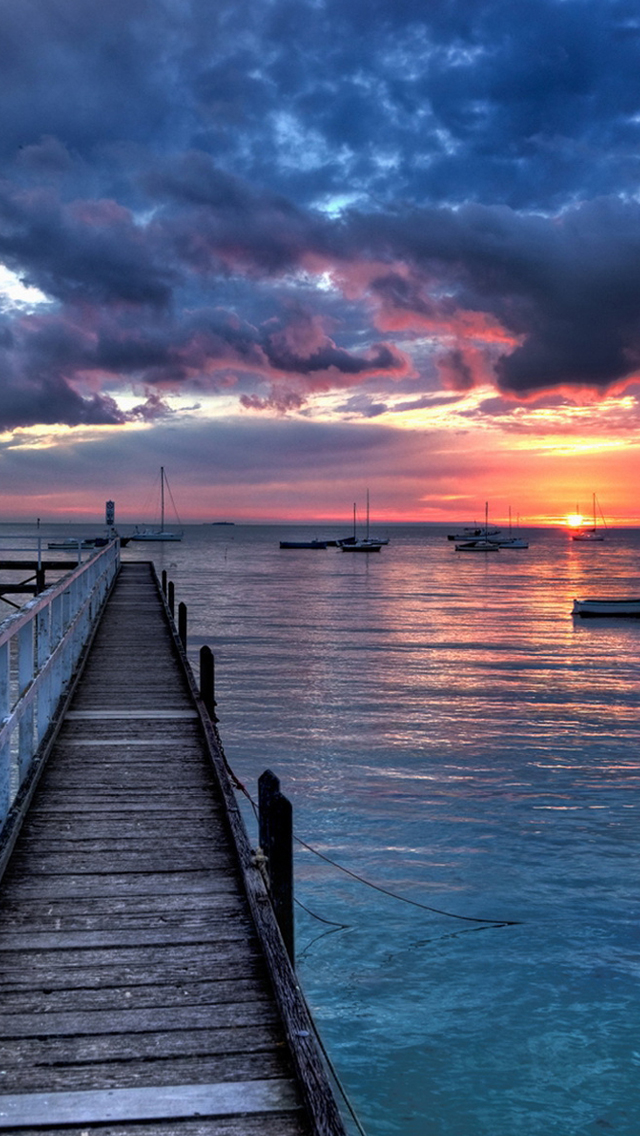 Boats Sunset iPhone wallpaper