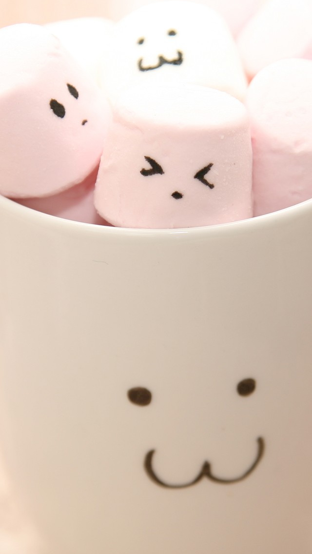 Cute Marshmallow In Cups iPhone wallpaper