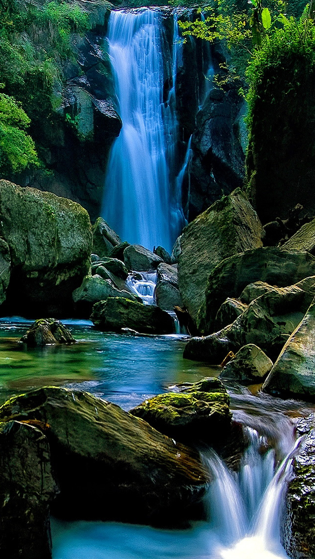 Natural Waterfall In Forest Landscape Iphone Wallpapers Free Download
