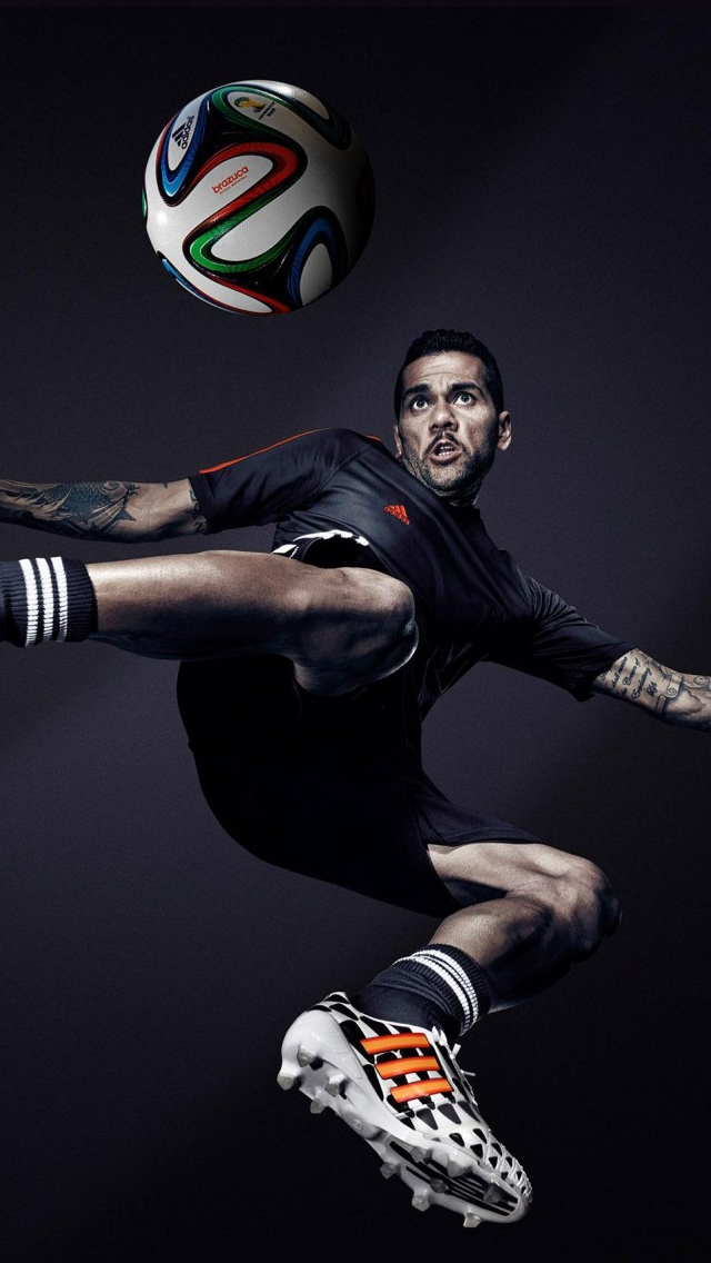 Dani Alves Brazil Adidas 2014 Fifa World Cup iPhone wallpaper
