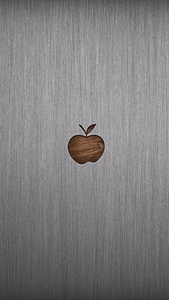 Apple logo metal background iPhone wallpaper