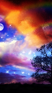 Rainbow Sky Field iPhone 5s wallpaper