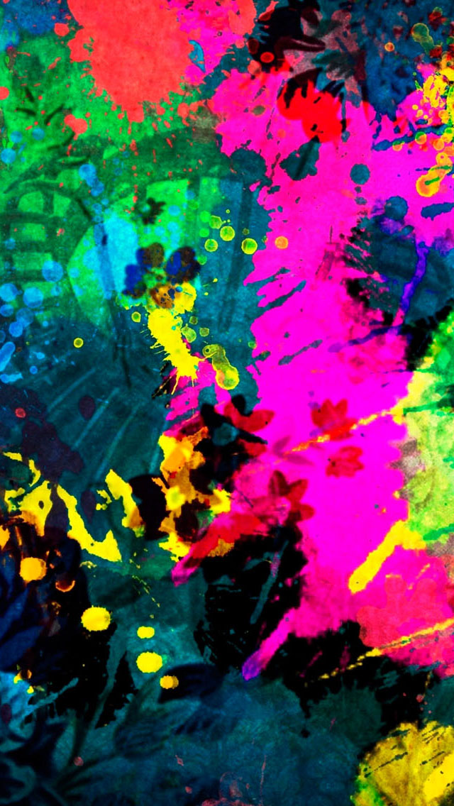 Colorful Paint Splatter  iPhone wallpaper