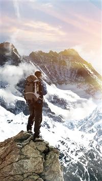 Climb Mountain Top iPhone 5s wallpaper