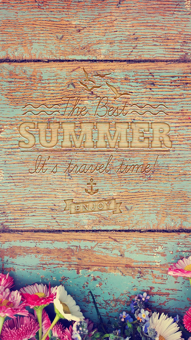 Clean Wooden Summer Text iPhone wallpaper