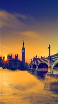 UK Sunset Big Ben Bridge iPhone 5s wallpaper