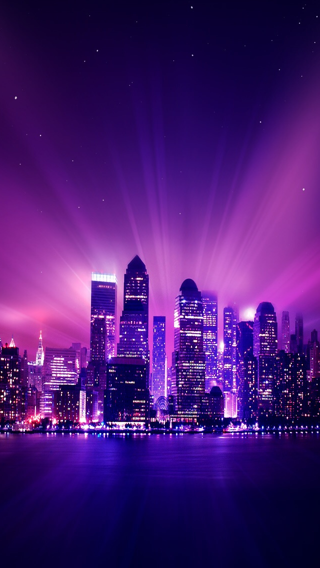 Shine Purple City Night iPhone wallpaper
