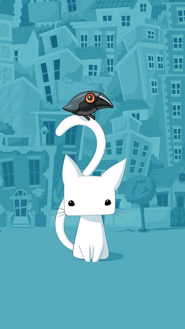 Cute City Cartoon Cat Iphone Wallpapers Free Download