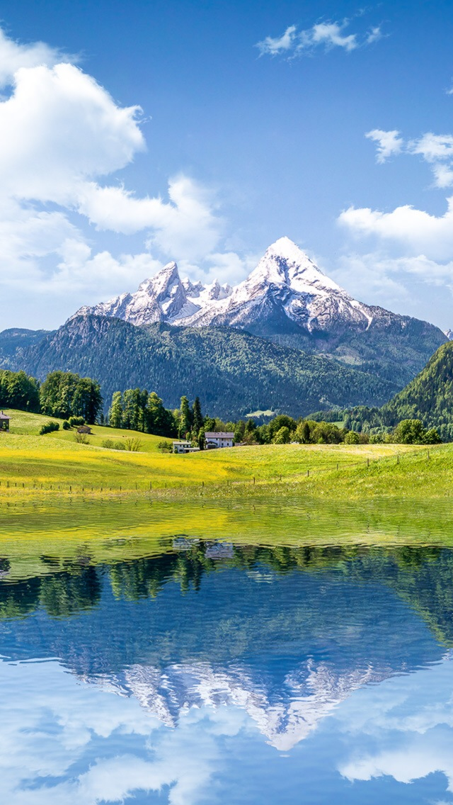 Nature Mountain Lake Reflection iPhone wallpaper