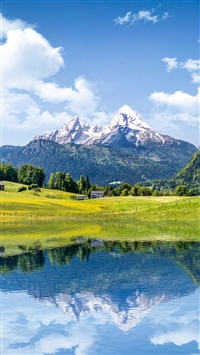 Nature Mountain Lake Reflection iPhone 5 wallpaper