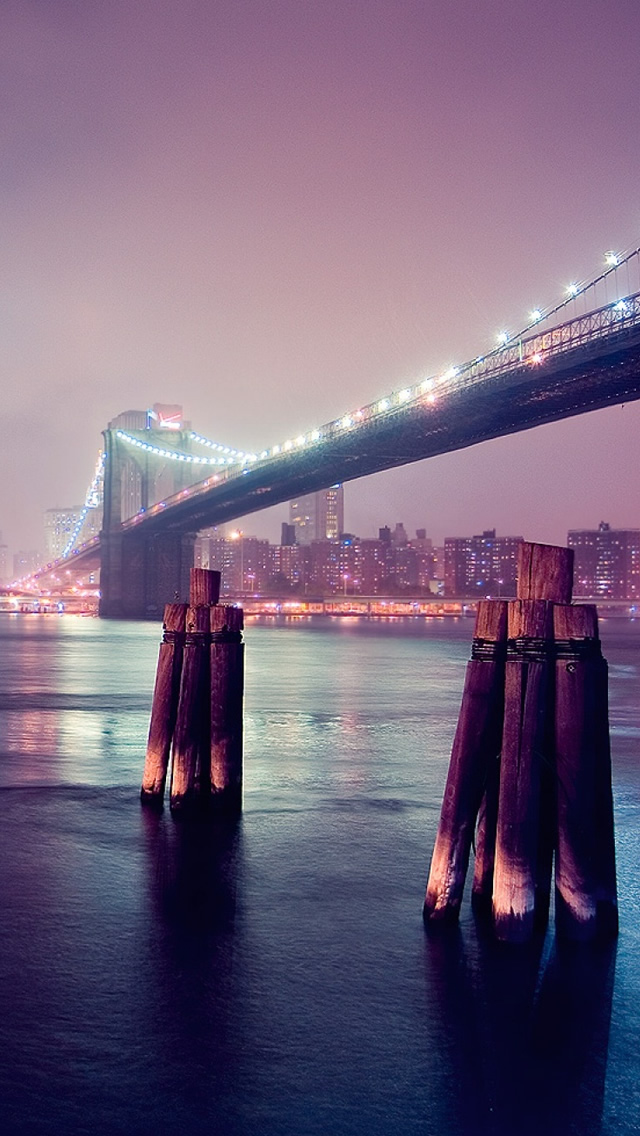 Night Lights River Bridge iPhone wallpaper