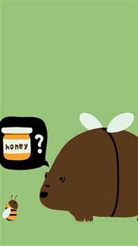 Winnie Bear Love Honey Bee iPhone 5s wallpaper