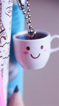 Cute Coffee Cup Beside Pen iPhone 5s wallpaper