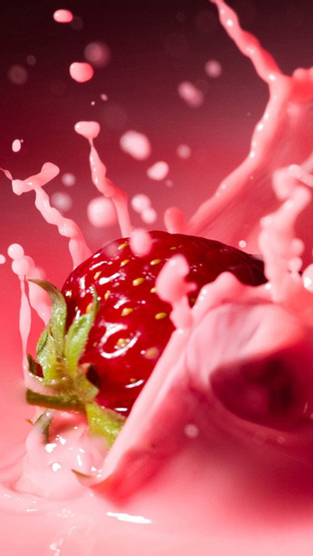 Strawberry Fall Into Milk Iphone Wallpapers Free Download