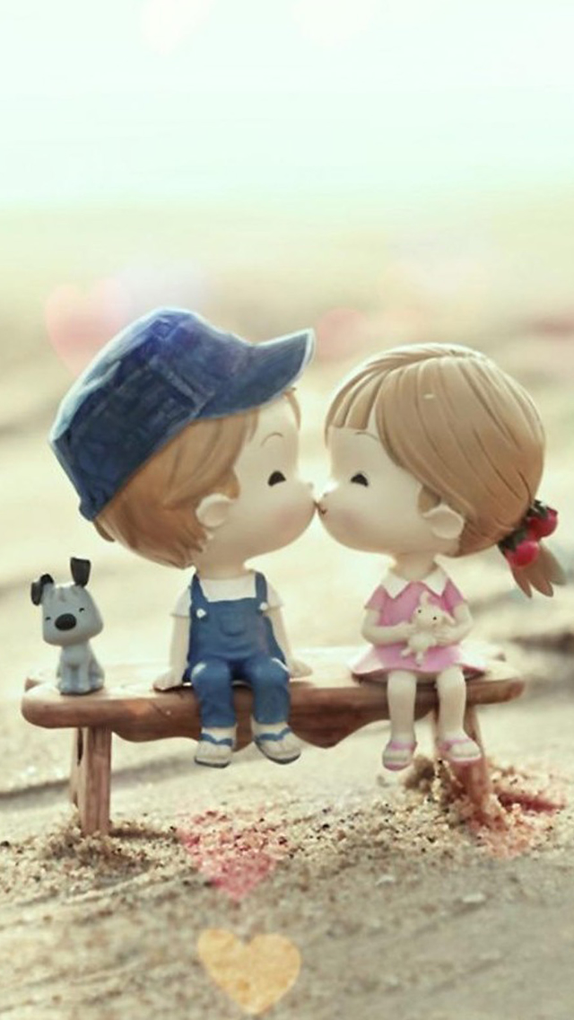 Sweet Cartoon Cute Lover Couple iPhone wallpaper