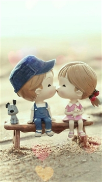 Sweet Cartoon Cute Lover Couple iPhone 5s wallpaper