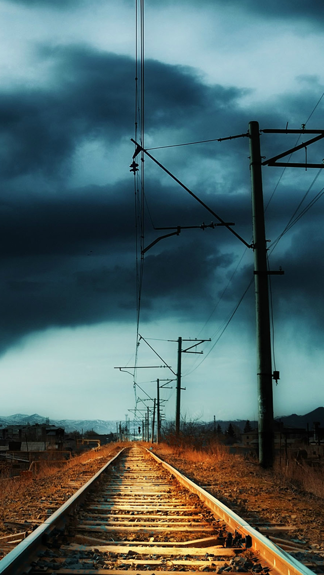 Nature Countryside Railway Storm iPhone wallpaper