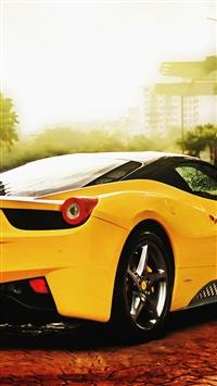 Ferrari 458 Spider Yellow iPhone 5s wallpaper