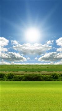 Nature Bright Sunshine Field Cloudy Skyscape iPhone 5s wallpaper