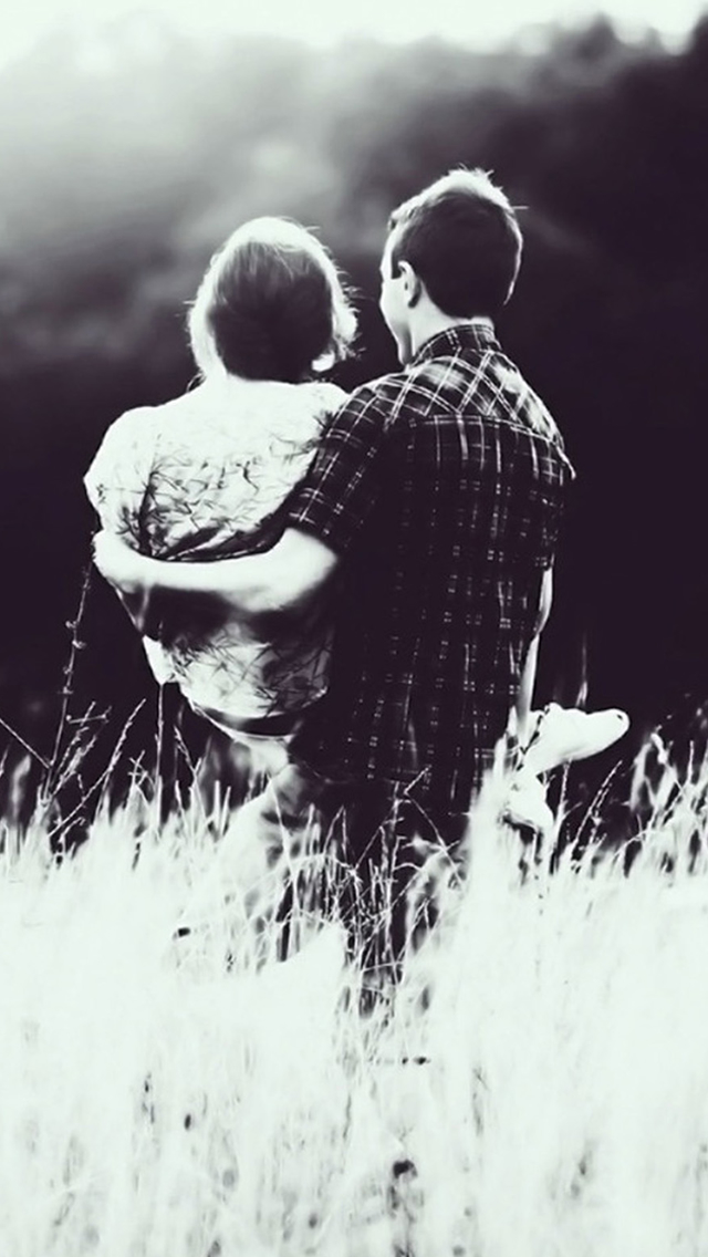 Grayscale Love Grass Field iPhone wallpaper