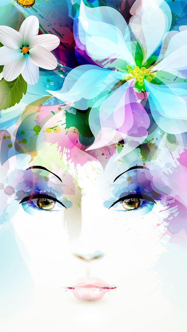 Art Girl Eyes Flowers Petals Butterfly Leaves Spray Iphone