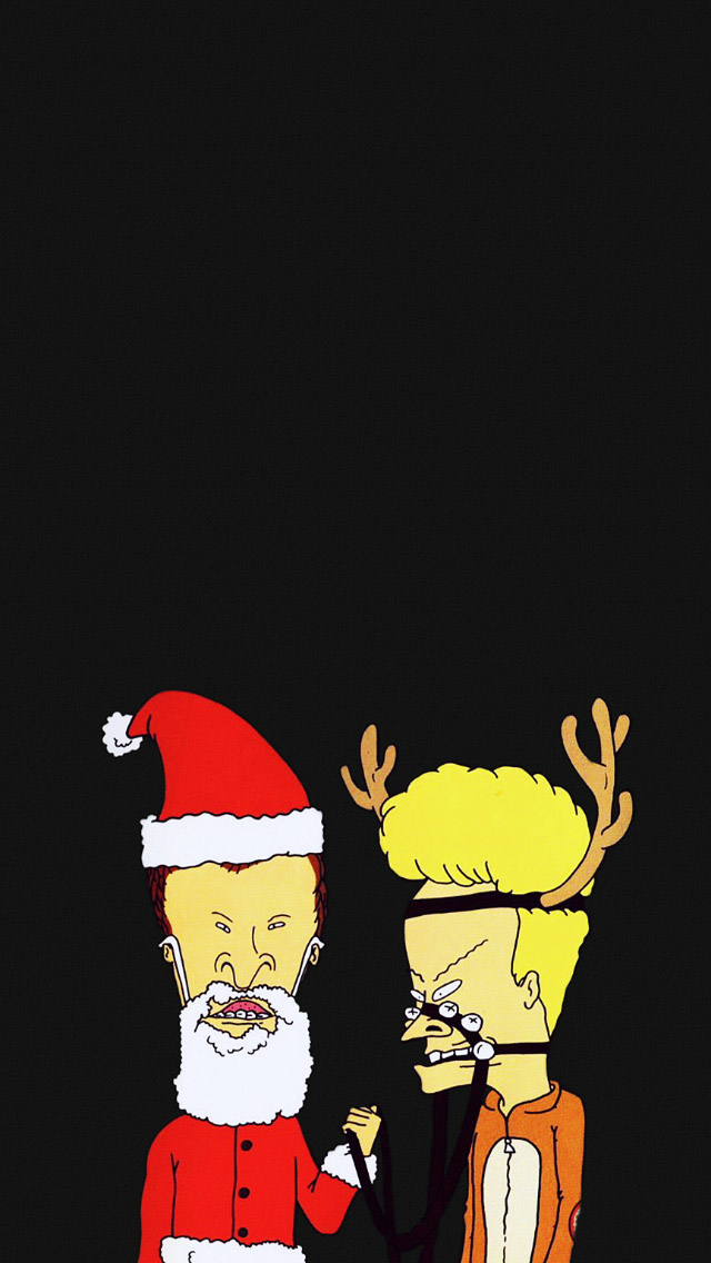 Christmas Cartoon Beavis And Butthead iPhone wallpaper