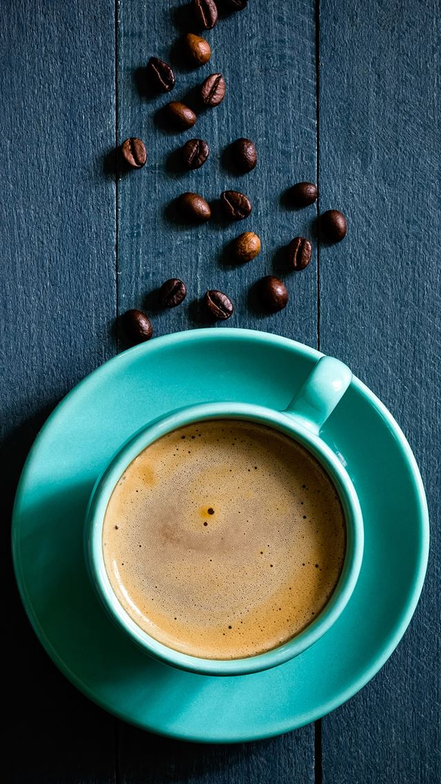 Coffee Bean On Wooden Table iPhone wallpaper