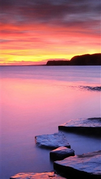 Nature Rock Ocean Sunset Landscape iPhone 5s wallpaper