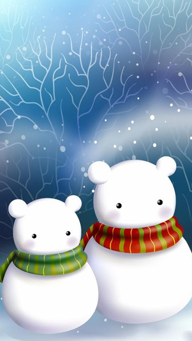 Cartoon Snowman In Scarf Tree Background iPhone wallpaper