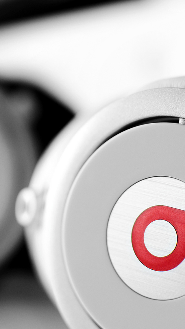 White Beats Headphones Macro iPhone wallpaper