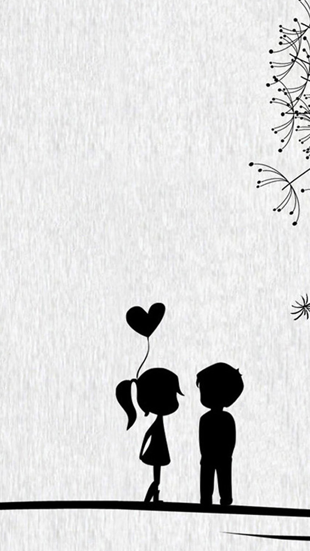 Love Cute Cartoon Little Couple iPhone wallpaper