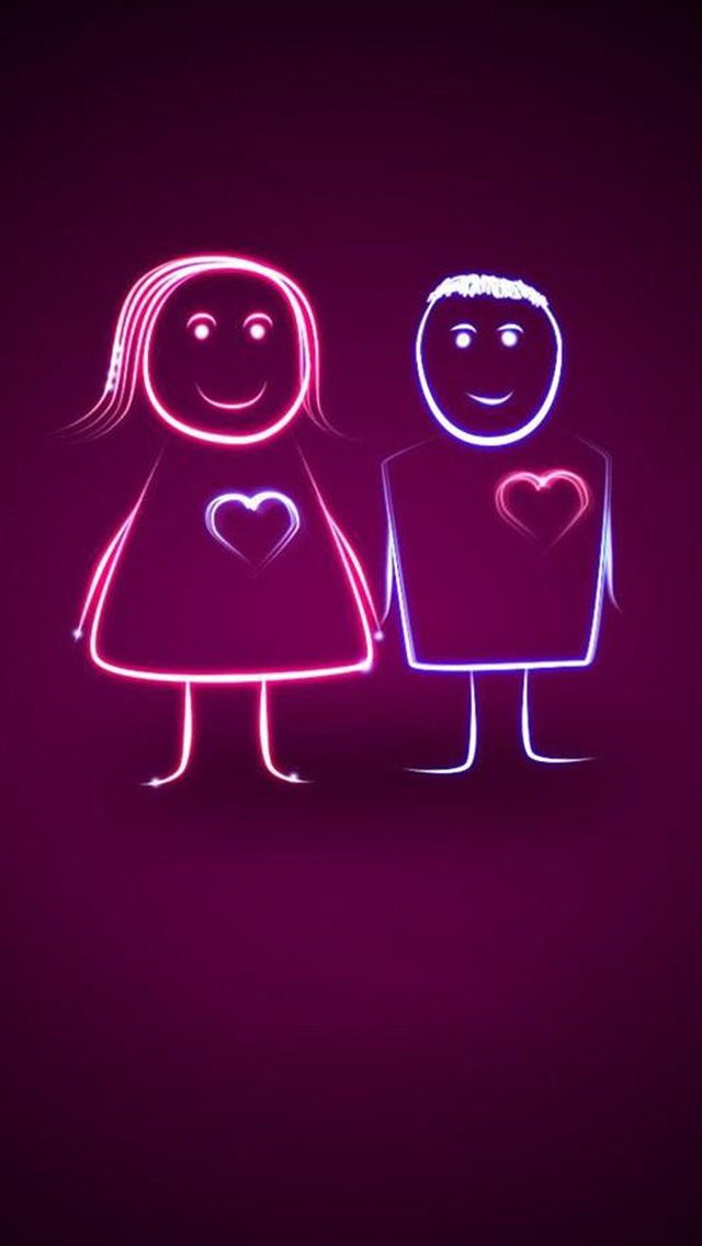 Sweet Heartbeat Cartoon Couple iPhone wallpaper