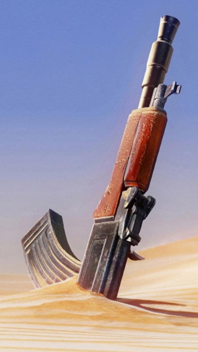 Machine Gun Knocked In Desert Iphone Wallpapers Free Download